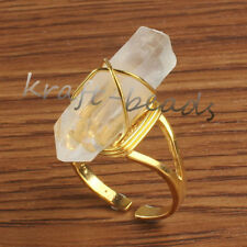 Natural Clear Rock Quartz Crystal Random Adjustable Stone Finger Ring Jewelry