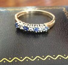 Ladies Vintage 375 ~ 9ct Gold Sapphire & Diamond 1/2 Eternity Ring Size L.5