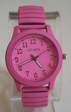 Women's Stretch Band Pink Painted Metal Finish Fashion Good for Nurse Watch