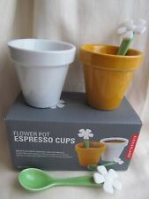 Kikkerland Set of 2 Flower Pot Espresso Coffee Cups With 2 Flower Spoons New