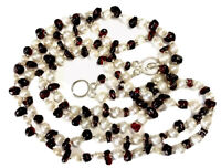 Vintage Double String Freshwater Pearls & Natural Garnet Chip Necklace
