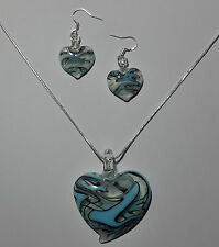 Blue Design Murano Glass Heart Earrings & Necklace Set #Valentine