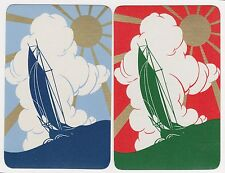 2 Single VINTAGE Swap/Playing Cards GOLD SUN RAY DECO SAIL BOATS