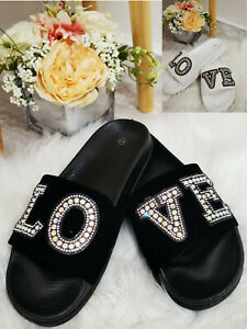 Ladies Womens Sliders Flat Summer Beach Slip On Diamante Mule Sandals Shoes Size