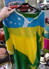 Camicia bandiera brasile brazil mare cotone rayon come parei mare taglia unica