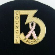 """AFSCME """"Council 13"""" Lapel Pin ~ Breast Cancer Awareness ~ Public Workers Union"""