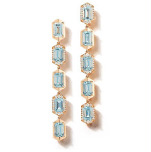 9Ct Emerald Cut Aqua Topaz Synt Diamond Chandelier Earrings Rose Gold Fns Silver