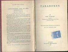 1898 PARADOXES Max Nordau William Heinemann London