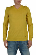Hugo Boss Ustico Men's Yellow Wool Silk Long Sleeve Sweater Size US L IT 52