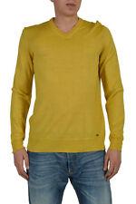 Hugo Boss Ustico Men's Yellow Wool Silk Long Sleeve Sweater Size US L IT 52