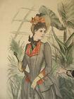 ANTIQUE 1887 LA STAGIONE HAND COLOR ITALIAN FASHION PLATE PRINT ITALY DAY DRESS