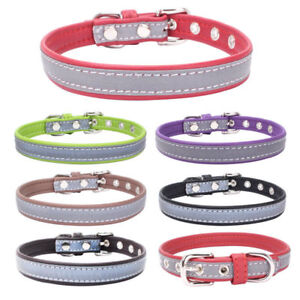 Soft Dog Collar Night Reflective Nylon Pet Puppy Cat Adjustable Collars UK Stock