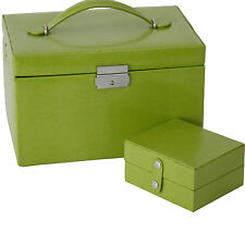 TS382LME- Jewelry Box Genuine Leather Lime with Travel Case