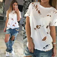 New Womens Distressed Ripped Holes Plain Cap Sleeve Loose Fit Basic T-Shirt Top