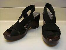 BCBGirls sz 7 Black Platform Sandals with Burgundy Wedge Heel