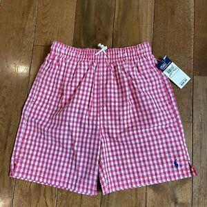 NWT Boys Polo Ralph Lauren Swim Trunks Shorts Pink White Gingham sz 7 $40