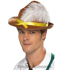 A889 Oktoberfest Brown German Bavarian Costume Beer Hat with Feather Unisex