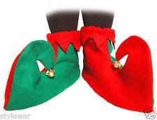 Nuevo Verde Y Roja Elfo Bufón Botas Zapatos Con Campanas de Navidad Elaborado Vestido Disfraz