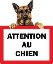 Autocollant sticker portail porte attention au chien berger allemand panneau