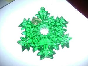 WATERFORD 2008 EMERALD GREEN CUT CRYSTAL SNOWFLAKE ORNAMENT~UNIQUE AND GORGEOUS