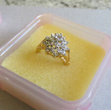 Retro Vintage Rhinestones Zirconia Cluster 18K Gold HGE Cocktail Ring Size 7.5