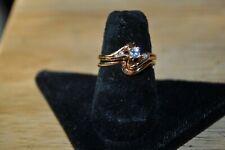 14 K gold diamond wedding set double set size 6 in jewelry box