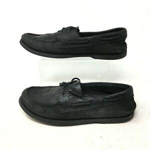 Sperry Top Sider Original 2 Eye Boat Shoe Flats Moc Toe Black Leather Mens 8.5M