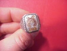 ORIGINAL WWII THEATER MADE? 205TH MP MILITARY POLICE SILVER RING