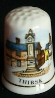 THIRSK HAMBLETON NORTH YORKSHIRE CLOCK TOWER BONE CHINA SOUVENIR THIMBLE