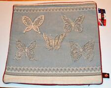 "New ART de LYS France Jaquard Tapestry BLUE BUTTERFLY LACE 19""x19"" Pillow Cover"