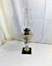 Stunning Vintage Oil Lamp Frosted Cut Glass Font, Brass & Milk Glass Pedestal