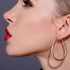 Women's Thick 40mm Oval Gold Plated Hoop Earrings Round Creole Chic Hoops GIFT
