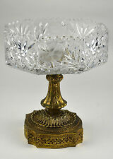 Vintage Clear Crystal Compote with Metal Base Stand Fruit Bowl Candy Dish Lead &