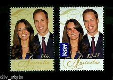 William & Kate Royal Engagement Australia mnh set of 2 stamps 2011