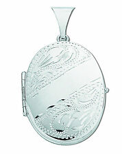 Silver Locket Sterling Silver Part Engraved Four Picture Family Oval Locket