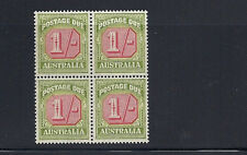 AUSTRALIA  1946-57 POSTAGE DUE (SG D128 one shilling) VF MNH block of 4
