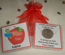 PERSONALISED THANK YOU GIFT BEST TEACHER HEAD CLASSROOM ASSISTANT LUCKY SIXPENCE