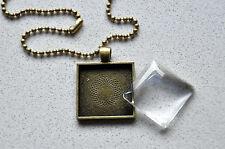 """10 x DIY square antique bronze pendant kit - 1"""""""