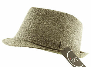 Itzu Men's Classic Textured Trilby Fedora Hat Cap Matching Band Brown Charcoal