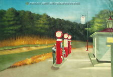 """""""Gas"""", Edward Hopper, Mobil Gas Station, Reproduction in Oil 26""""x40"""""""