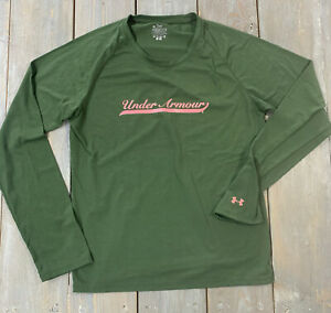 Under Armour women's green long sleeve t shirt pink letters adult size m medium