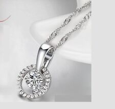Halo Round Solitaire Cubic Zirconia .925 Sterling Silver Pendant Necklace A26