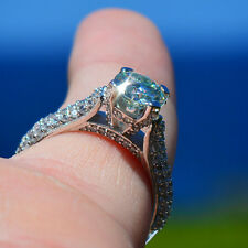 Ocean-Blue Hawaii Estate Ring w/ Spectacular Fire!  3.31 tcw; Genuine Moissanite