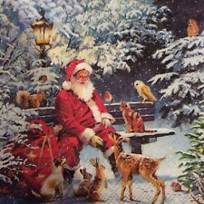 paper napkins decoupage x 2 Christmas santa on bench 25cm