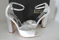 £299 BADGLEY MISCHKA WHITE SWAROVSKI CRYSTAL BRIDAL SATIN HEELS 37 7M