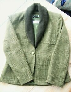 MAX MARA Luxury Cashmere Jacket fits 10 UK Lovat green check, contrast collar