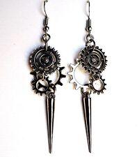 Spike Cogwheel Gear Antique Silver Earrings Goth Steampunk