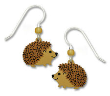 Hedgehog Earrings - 925 Sterling Silver Ear Wires - Porcupine Children Gift NEW