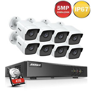 ANNKE 5MP Caméra Surveillance 8CH DVR Sécurité EXIR Vision Nocturne IP67 H.265+