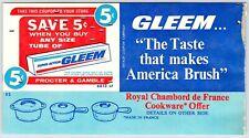 GLEEM TOOTHPASTE Vintage 1970's Coupon Supermarket Advertising Ad M118
